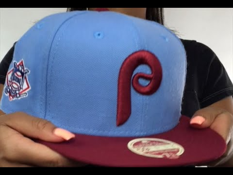 e92dbc222aae4 Phillies  MLB COOPERSTOWN WOOL-STANDARD  Sky-Burgundy Fitted Hat by New Era