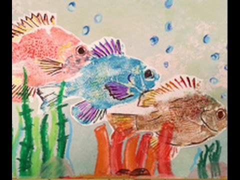 make fish shaped prints using a japanese printing technique on hands on crafts for kids 1608 1