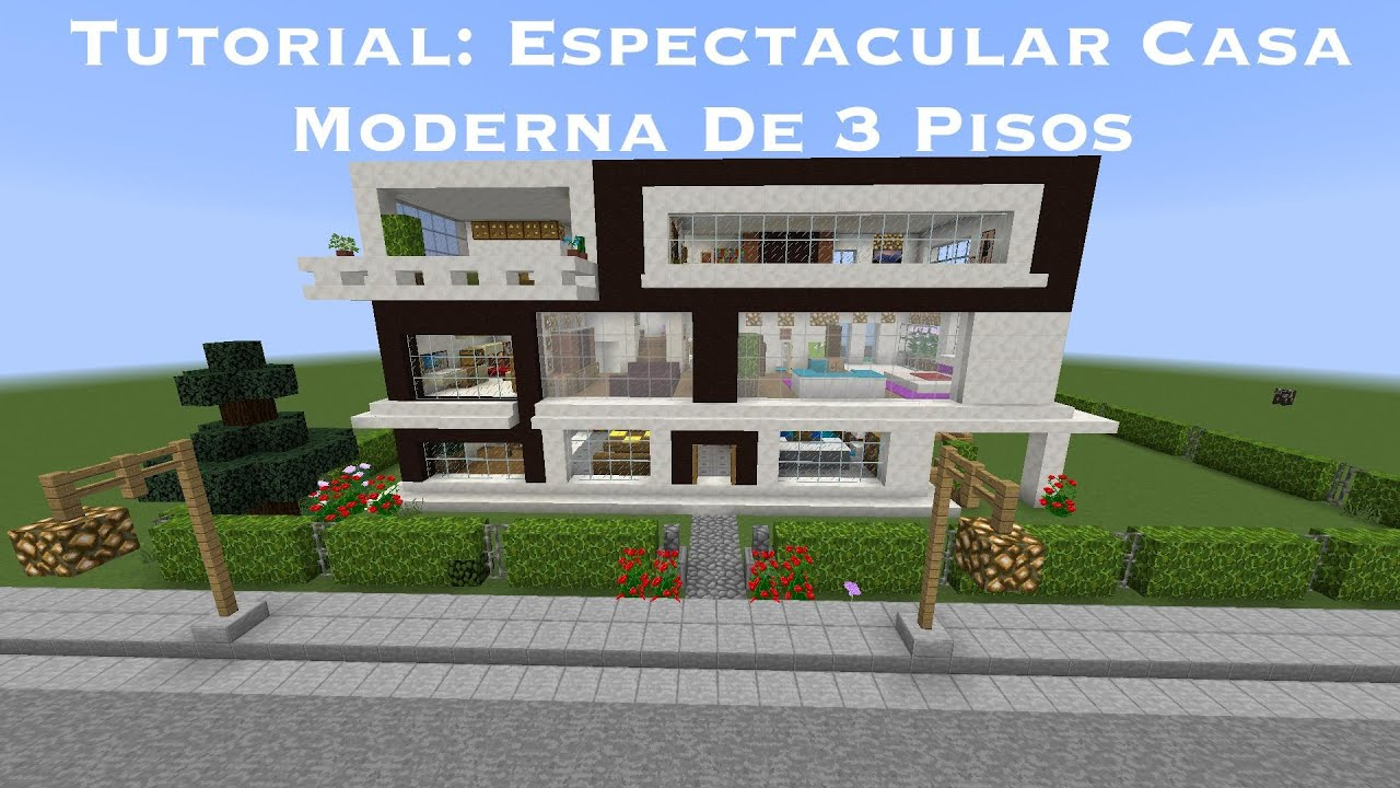Tutorial espectacular casa moderna de 3 pisos en for Tutorial casa moderna grande minecraft