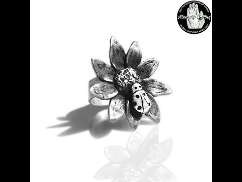 silver clay ring daisy and ladybug