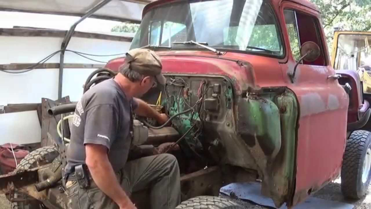 Operation Crusty Truck Cab Removal 1957 Chevy Napco 4x4 - YouTube