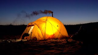 Winter Hot Tent Camṗing In The Alaska Range - With My Dog Stella