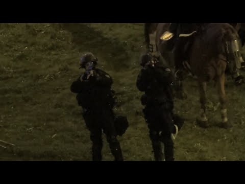 Riot Cops Pointing Tear Gas Rifles At Protesters