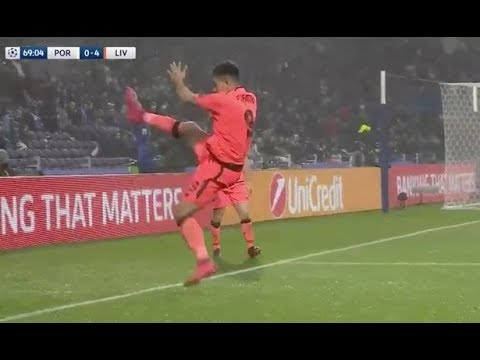 Roberto Firmino celebrated with a kung fu kick after scoring in Liverpool's brilliant win over Porto
