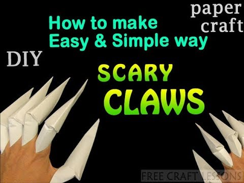How to make fake Witch Nails CLAWS   easy diy paper craft   Halloween fun craft lesson
