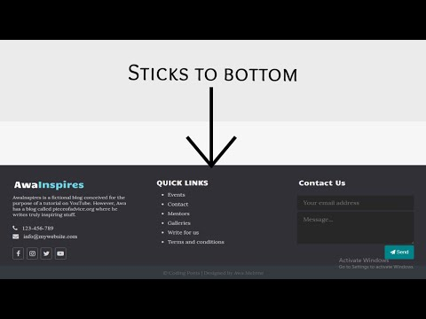 Design A Footer That Sticks To The Bottom Of The Page Part 2 | Designing A Blog Website HTML/CSS #