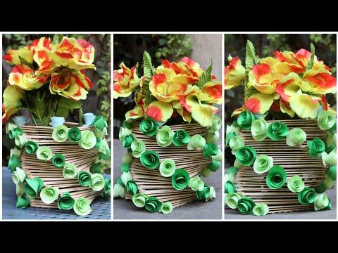 DIY Flower Vase    Ice Cream Sticks Craft Idea - Handmade Popsicle Sticks Flower Pot
