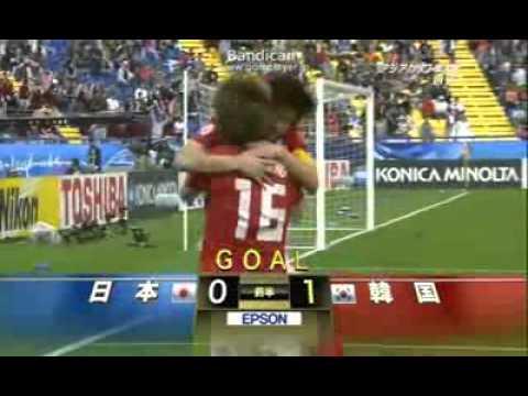 アジアカップ2011 日本VS韓国 問題の猿マネ PK失点シーン