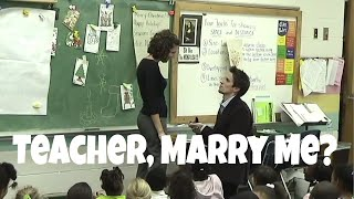 Romantic Marriage Proposal to Teacher in Classroom