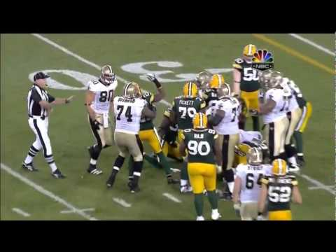 Charles Woodson punches a Saints player [HD live+replays]