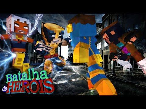 Minecraft : WOLVERINE E STORM vs CYCLOPS E GAMBIT - BATALHA DE HERÓI ( X-Men Apocalypse)