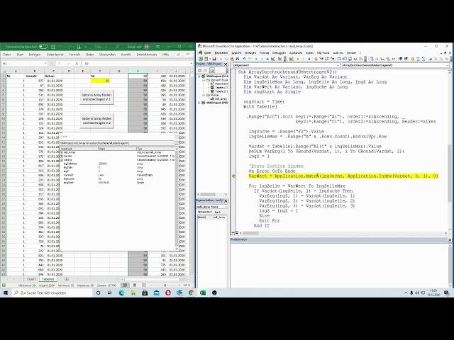 214: Excel-VBA: Wer ist schneller im Array? Suche von vorne oder ab bestimmter Position aufsetzen?