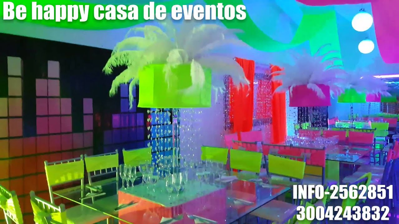 Fiesta tematica neon youtube - Casa para fiesta ...