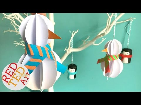 Easy Paper Snowman Ornament DIY