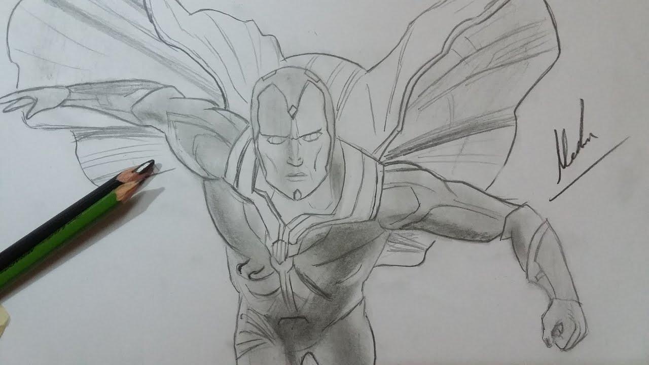 Learn How To Draw Falcon From Captain America Civil War: Dibujo De Vision De Civil War/Drawing Vision: Civil War