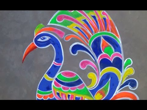 New Year Peacock Rangoli Design/ Colourful kolam Designs - YouTube