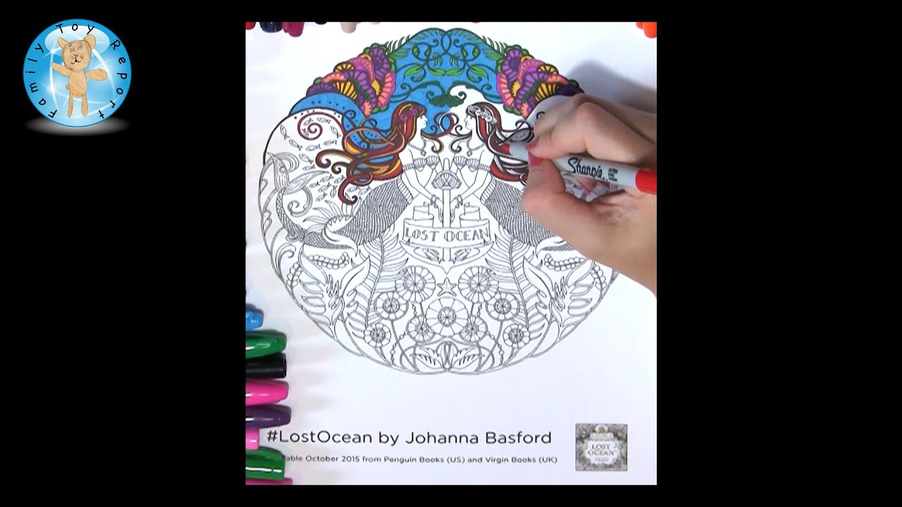 lost ocean by johanna basford adult coloring book mermaids page lostocean family toy report youtube - Ocean Coloring Book
