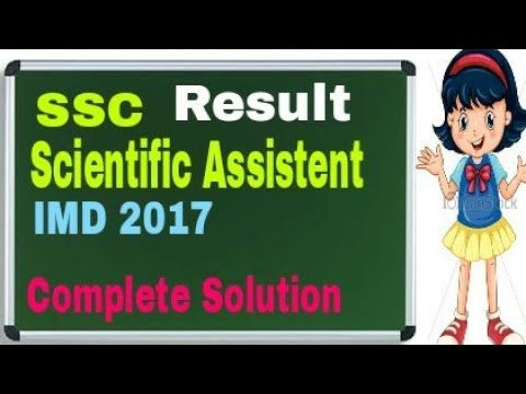 Ssc IMD (Scientific Assistent) 2017 Result Complete Solution