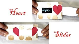 How to make Heart Slider Card for Valentines day, Anniversary|Love Slider Card Tutorial By Garima