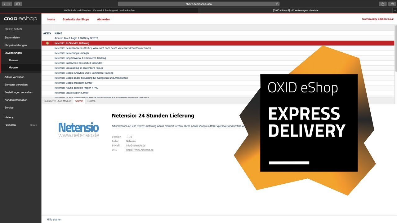 Mark selected products for express delivery in OXID eShop