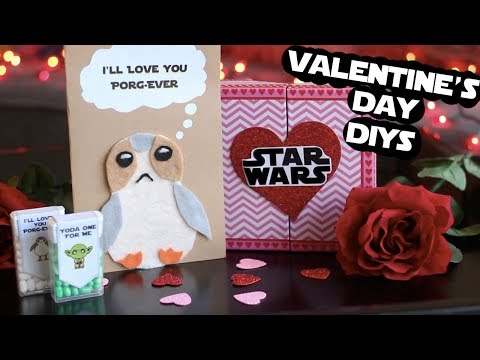 DIY Star Wars Valentines Day Gifts | Porg Card, Chocolates & More!