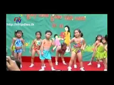 http://nhipdieu.tk - biểu diễn aerobic mẫu giáo khối mầm - bé ti ti