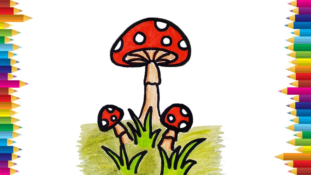 How to draw a mushroom easy    mushroom drawing step by step    vegetable  drawing