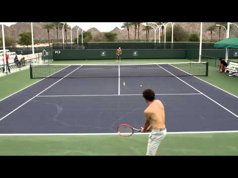 Gilles Simon Practice 2014 BNP Paribas Open Indian Wells CA