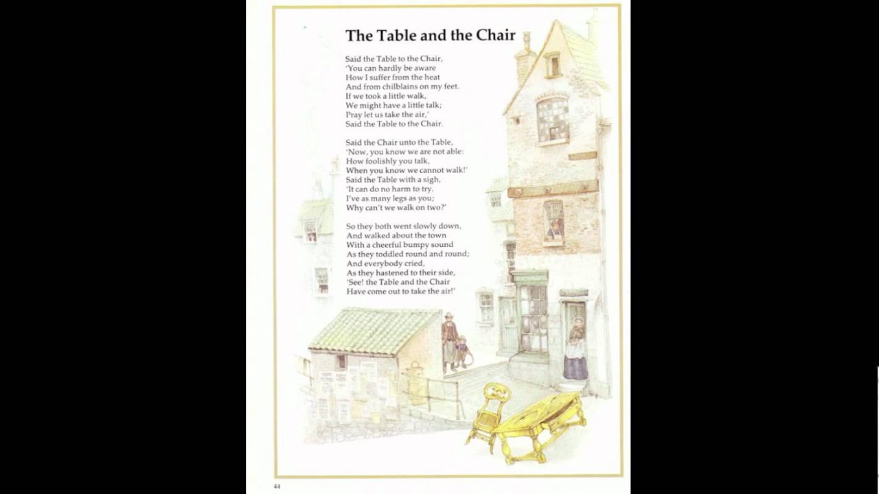 The Table And The Chair A Silly Dramatized Poem For