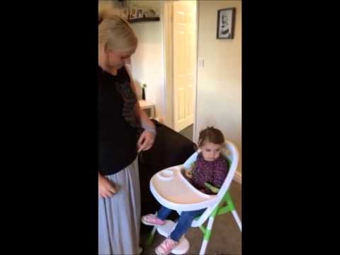 Stroke survivor's how-to: putting a baby in a highchair