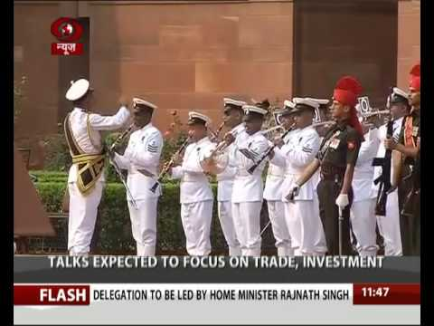 Myanmar's President Htin Kyaw accorded with  ceremonial reception at Rashtrapati Bhawan
