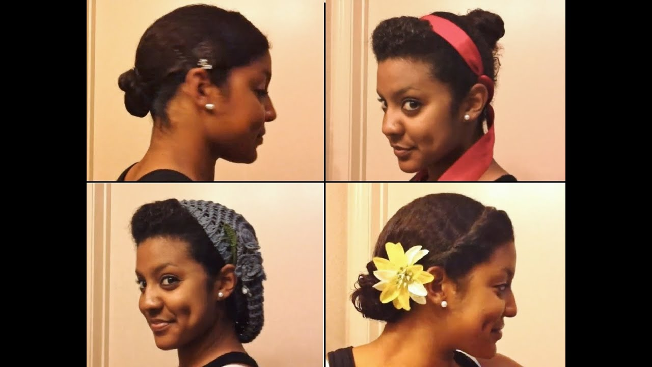 4 easy, stylish ways to bun your transitioning hair - youtube