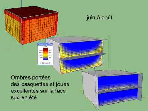 simulation solaire d 39 une maison optimis e ombres port es des casquettes et joues youtube. Black Bedroom Furniture Sets. Home Design Ideas