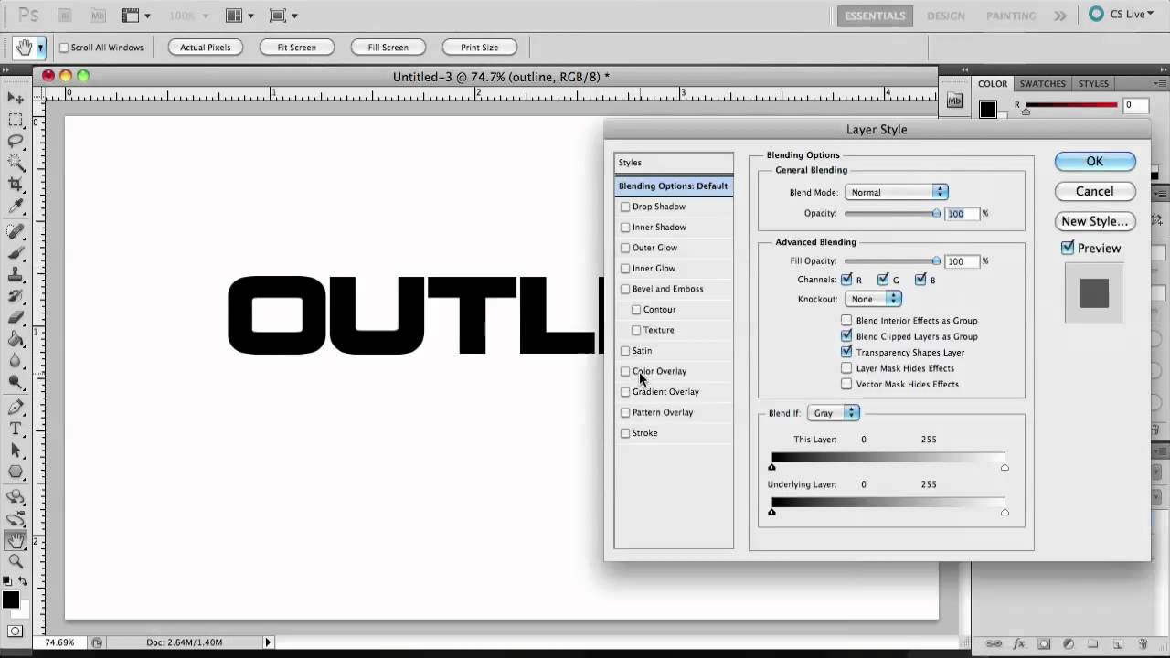 Photoshop CS5 - How to make outline text