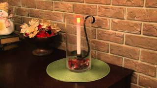 Pacific Accents Sedona Glass Hurricane With Flameless Taper Candle