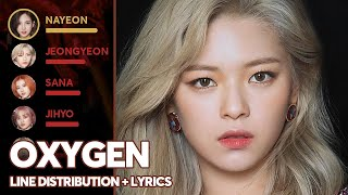 Gambar cover TWICE - OXYGEN (Line Distribution + Lyrics Color Coded) PATREON REQUESTED