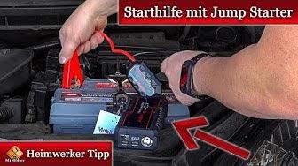Auto Starthilfe mit Jump Starter / Starthilfe Booster 🚗+🔌+🔋► so geht's