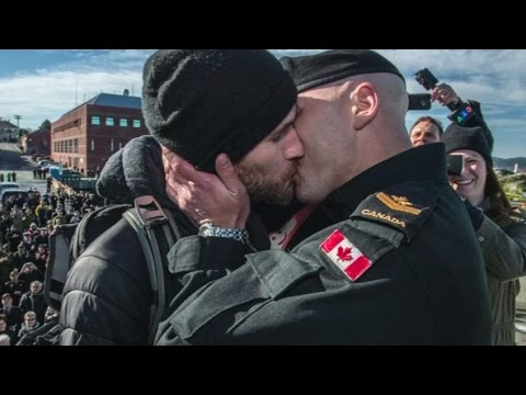 Same-sex Couple Share Traditional Canadian Naval 'first Kiss' For The First Time