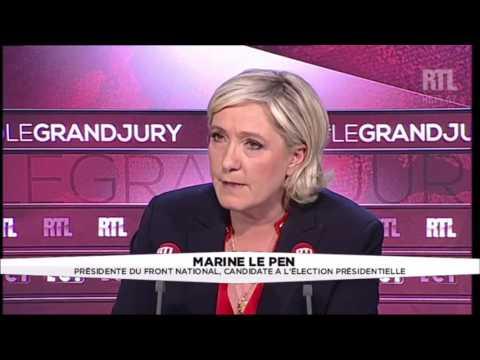 Marine Le Pen, coincée et malmenée dans ses contradictions - UE (Le Grand Jury ,09/04/2017)