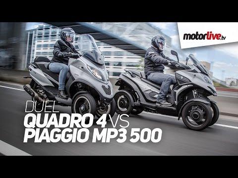 DUEL   1er comparatif QUADRO 4 vs PIAGGIO MP3 500 2015, 3 ou 4