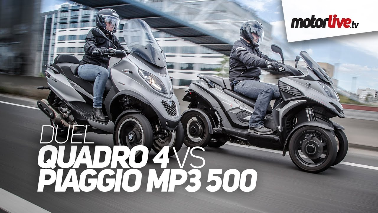 duel | 1er comparatif quadro 4 vs piaggio mp3 500 2015, 3 ou 4