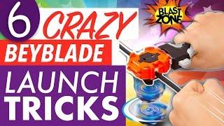 6 Crazy Beyblade Launch Tricks!  Beyblade Burst Tips &amp How to win at Beyblades!  ベイブレードバースト  百叶窗
