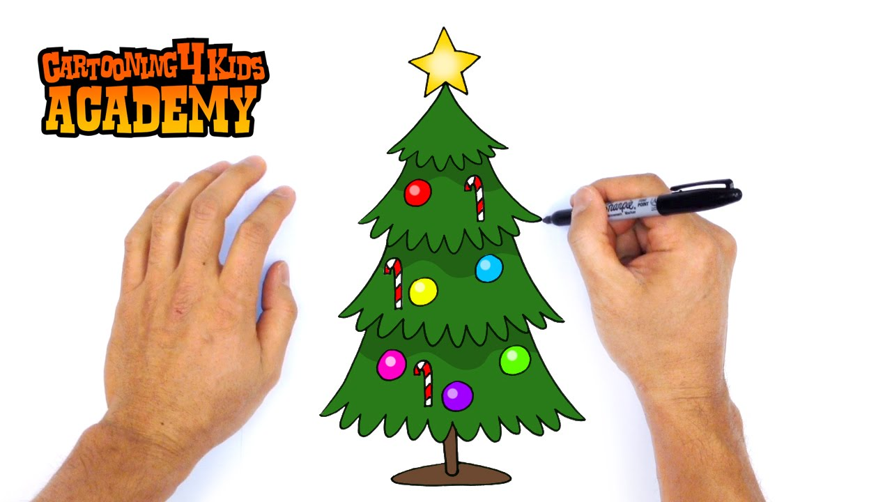 How to Draw a Christmas Tree- Art for Beginners - YouTube