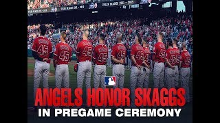 The Angels honor their fallen teammate before the game