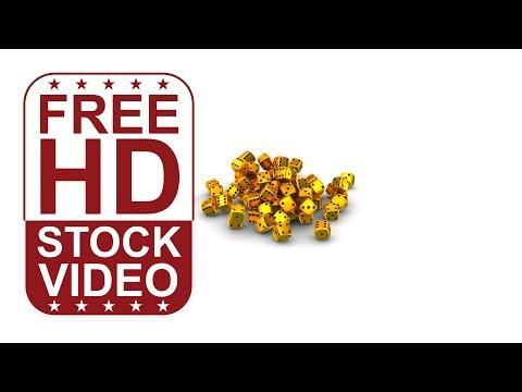 FREE HD video backgrounds – gold casino dice falling – 3D animation