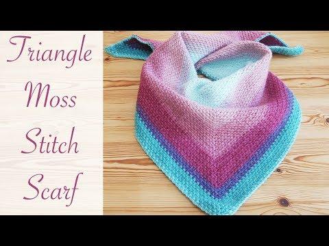 Easy Crochet: Moss Stitch Triangle Scarf / Shawl