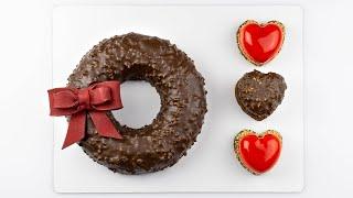 Торт на 14 февраля. Рецепт хрустящей шоколадной глазури. Шоколадный бант