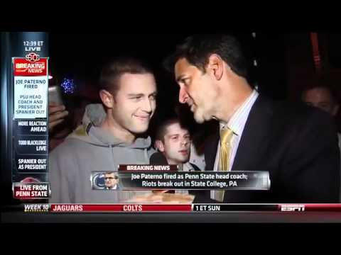 Intelligent student is interviewed by ESPN, interrupted by idiot after Joe Paterno firing