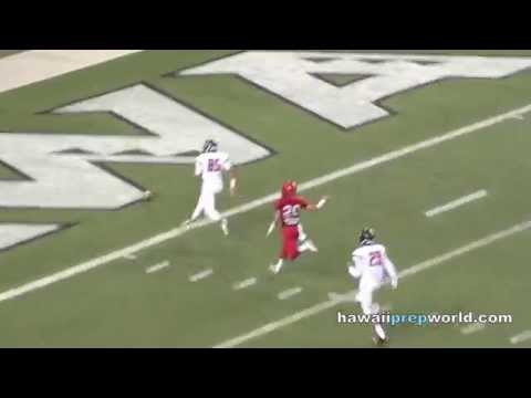 High punt snap by Saint Louis, safety for Kahuku 11/20/15