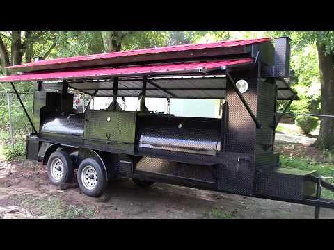 Mega T Rex Pro w Roof Competition BBQ Smoker Grill Trailers Sale BBQ Catering Food Trucks Atlanta